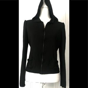 Max Studio Top Hooded  Black Sz.(M) Long Sleeves